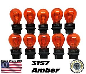 3157 10 Bulb Lot Amber Dual Filament Bulbs Lamp Bulk 10 Pack Fast Usa Ship