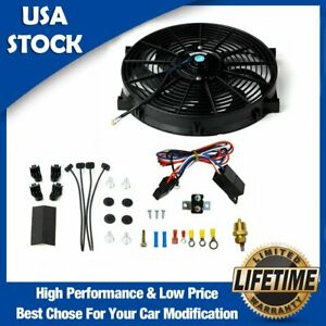 14in Electric Radiator Fan High 900 Cfm Thermostat Wiring Switch Relay Kit New