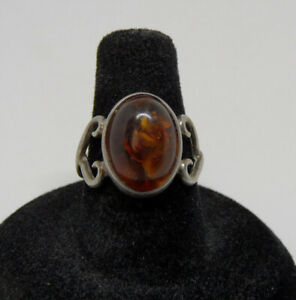 OLD Vintage STERLING SILVER 925 Oval Stone NATURAL AMBER Women#x27;s Ring Size 6.75 $19.95