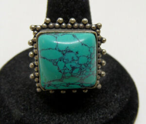 Vintage STERLING SILVER Square Beaded TURQUOISE Gemstone WOMEN#x27;S RING Size 10 $16.95