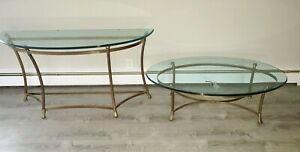 2 Vintage Weiman Brass And Glass Coffee Table Sideboard Table Hoof Feet Set
