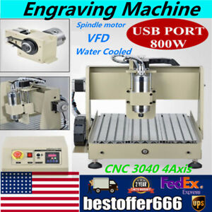 Cnc 3040 4axis Usb Port Router 800w Engraving Engraver Cutting Drilling Machine