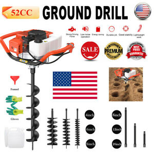 52cc 2 stroke Gasoline Gas One Man Post Hole Digger Earth Auger Machine