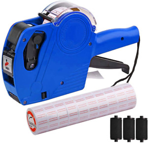 Price Tag With 5000 Sticker Labels And 3 Ink Refill Label 8 Digits Marking Blue