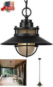 Porch Light Fixture Outdoor Ceiling Pendant Globe Front Hanging Chain Industrial
