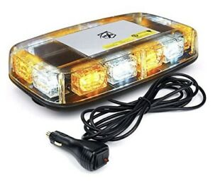 12 Roof Top Mini Led Strobe Light Bar Magnetic Mount Emergency Safety wht amber