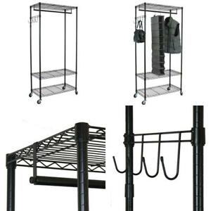 Heavy Duty Black Steel Adjustable Clothes Rack With Hooks 35 In W X 75 In H
