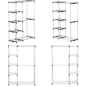 Chrome Steel Double Clothes Rack 45 In W X 68 In H