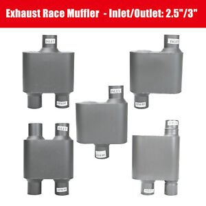 Universal Exhaust Race Muffler 2 5 3 Inlet Outlet Single Dual 13 Overall