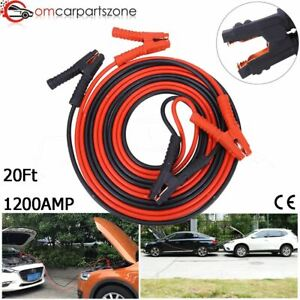 1200amp 1 Gauge Booster Cables 20ft Power Start Jumper Heavy Duty Car Emergency