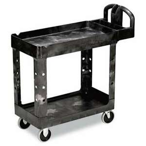 Rubbermaid Commercial Heavy duty Utility Cart Two shelf 17 1 8 086876184259