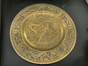 Antique Chinese Bronze Brass 6 Mark Signed Base Heavy Plate