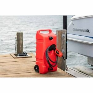 14 Gallon Portable Gas Fuel Tank Container W Hand Transfer Pump Wheel Storage