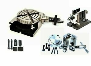 Rotary Table 3 With 80 Mm Self Centering Chuck Tailstock M6 Clamping Kit