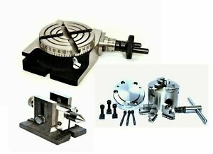 Rotary Table 3 With 80 Mm Self Centering Chuck Single Bolt Tailstock