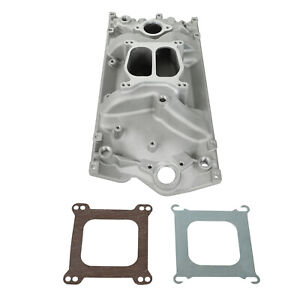 Intake Manifold For Vortec 350 Heads Sbc Chevy Dual Plane Satin Aluminum