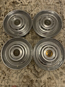 Vintage Cadillac Stainless Hub Caps 15 Set Of 4 Caddy Wheel Covers With Copper
