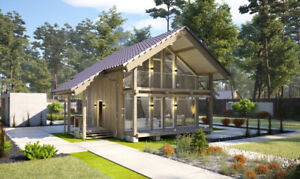 840 Sq ft Eco Solid Timber Airtight Panel House Kit Mass Wood Clt Home Prefab