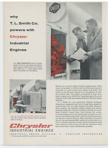 1958 Chrysler Industrial Engines Ad Tl Smith Executives Smith Cement Mixers