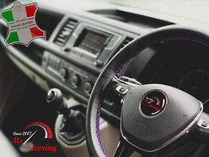 For Acura Integra 89 01 Black Leather Steering Wheel Cover Purple Stitch