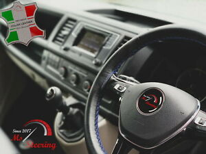 For Porsche 356 C 64 65 Black Leather Steering Wheel Cover Royal Blue Stitch