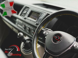 For Acura Integra 89 01 Black Leather Steering Wheel Cover Yellow Stitch