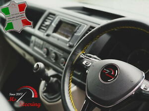 For Ferrari Dino206sp 65 Black Leather Steering Wheel Cover Yellow Stitch