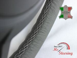For Porsche 356 C 64 65 Grey Leather Steering Wheel Cover Grey Stitch