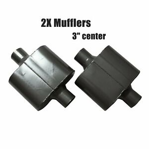 Pair 3 Inch Center Inlet Outlet Single Chamber Performance Race Mufflers Black