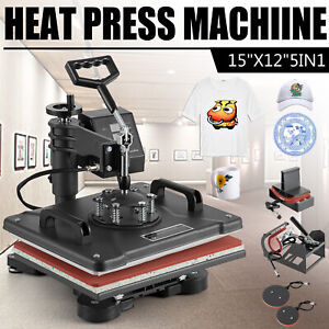5 In 1 Heat Press Machine Swing Away T shirt Mug Hat Transfer Sublimation 12 x15