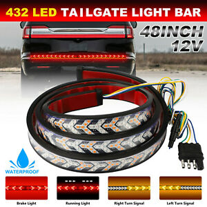 Truck Tailgate Light Bar Strip Reverse Brake Tail Flowing Turn Signal Drl Amber