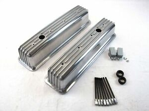 Chevrolet Sbc Aluminum Valve Covers Center Bolt Style Heads Finned 350