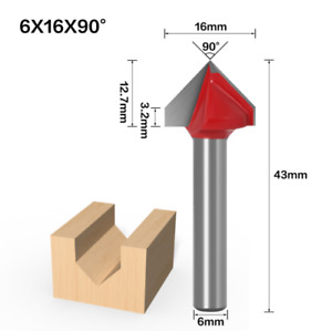 90 Degree Router Cnc Engraving V Groove Bit Tool 6mm X 12 7mm