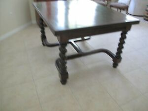 Antique Barley Twist Refectory Table With Double Draw Leaf Excellent Condition
