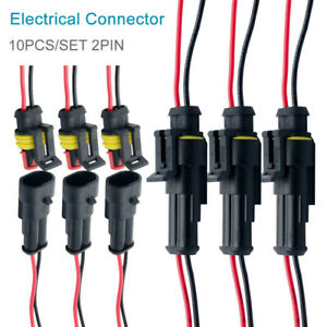 10 Pair Waterproof 12v 2 pin Electrical Wire Connector Plug Cable Car Boat Us