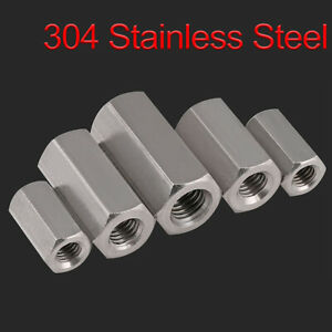 Hex Rod Coupling Nuts Bar Stud Long Nut A2 304 Stainless Steel M5 m24 All Size