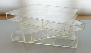 Lot Of 3 Plexiglass Display Trays Cases Drawer Dividers 6 Sections