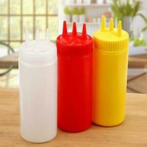 3 Holes Squeeze Bottle Condiment Dispenser For Sauce Ketchup Yellow Oil Y1o2