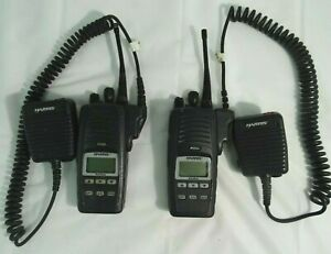Harris P5500 Professional Two Way Radios W Mics Lot Of 2