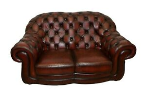 Tufted Leather Loveseat Small Sofa Chesterfield Maroon Leather English