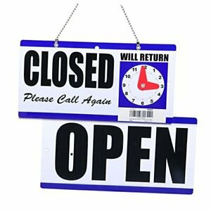 Open And Closed Sign Plastic With Hanging Chain Double Sides With will