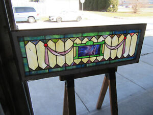 Antique Stained Glass Transom Window 58 X 20 Architectural Salvage