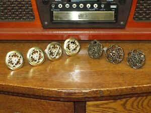 7 Vintage Reticulated Cabinet Furniture Pulls Knobs Floral Pattern 2 Styles