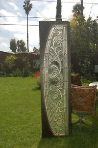 Antique Art Nouveau Stained Leaded Glass Transom Window 76 X 19 5 Jewels