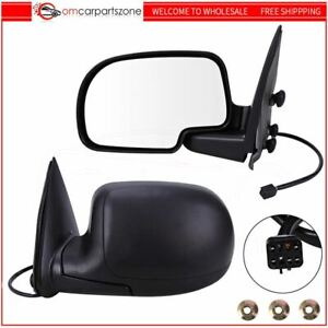 Heated Power Side View Mirrors Left Right Pair Set For Chevy Gmc Truck Black