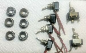 Lot 6 Vintage Circle F Toggle Switch Lot Bakelite 8a 10a With Chrome Collars