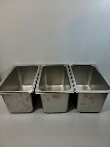 1 4 Size 6 Deep Stainless Steel Steam Table Hotel Buffet Pan Lot Of 3