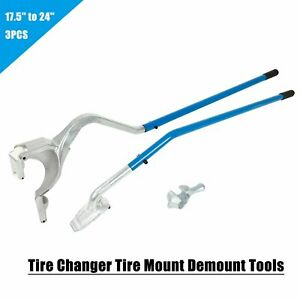 3 Pcs Tire Changer Tire Mount Demount Tool Tubeless Truck 17 5 To 24 Blue