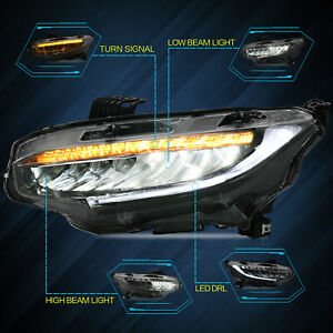 Led Sequential Headlight Projector Corner Signal For Honda Civic 2016 2019