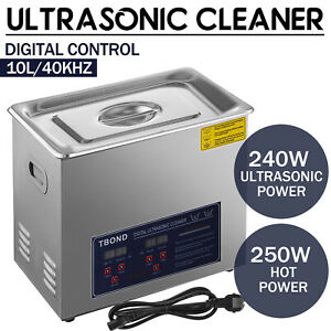Stainless Steel 10l Liter Industry Ultrasonic Cleaner Heated Heater W timer